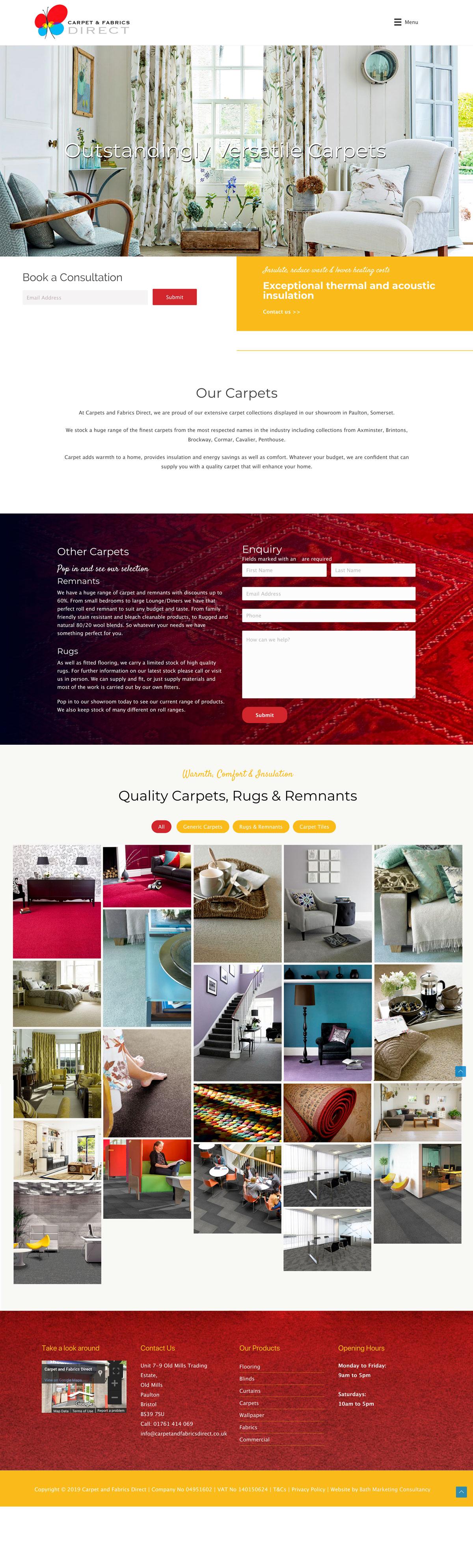 Website Design For Carpet Fabrics Website Build Content Management Systems