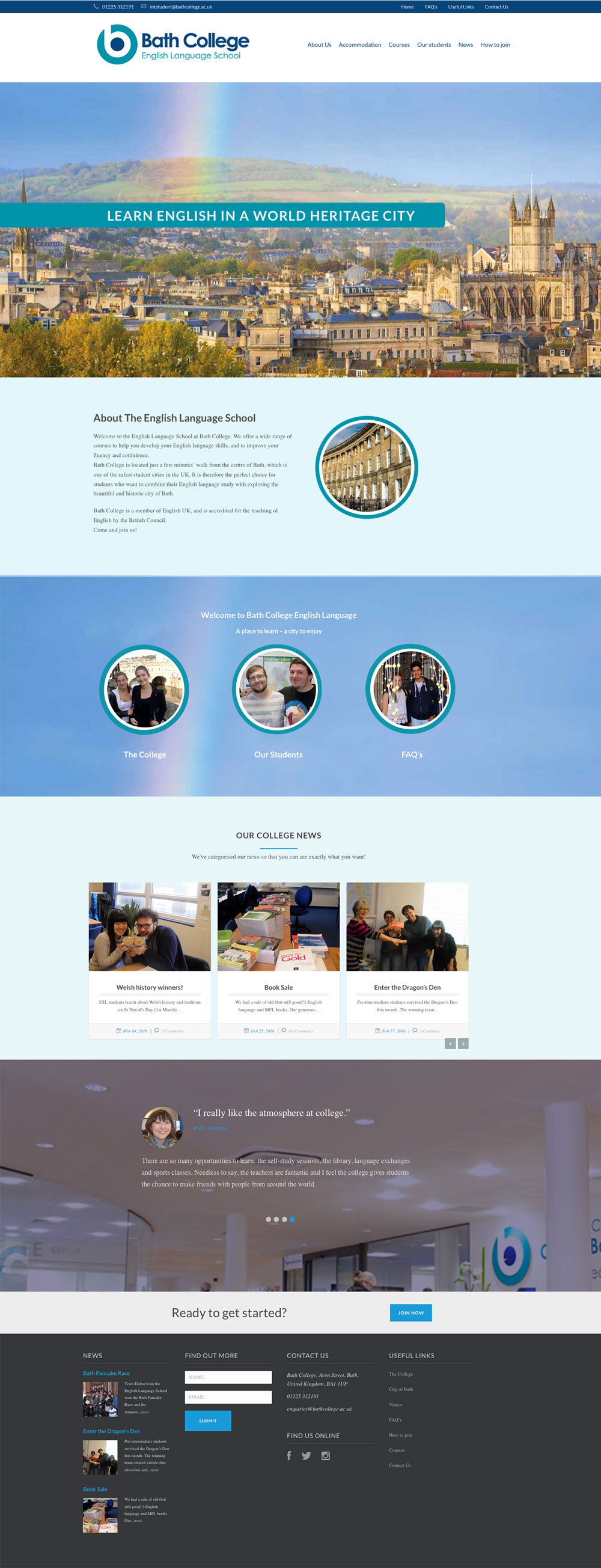 Marketing Consultancy & Website Design for Bath College
