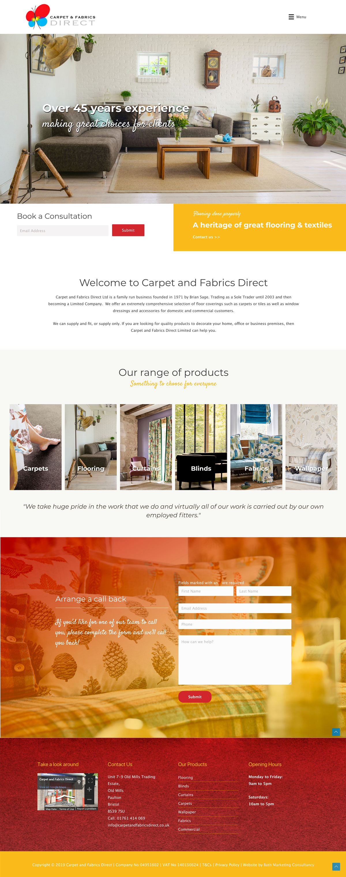 Carpet & Fabrics | Website Design | Bristol